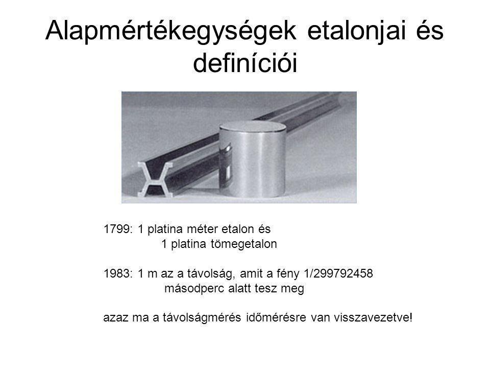 Alapmértékegységek etalonjai és definíciói 1799: 1 platina méter etalon és 1 platina tömegetalon 1983: 1 m az a távolság, amit a fény 1/299792458 máso