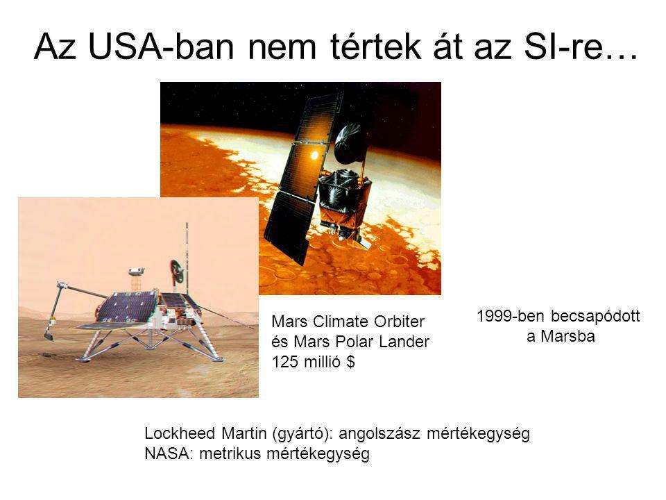 Az USA-ban nem tértek át az SI-re… Mars Climate Orbiter és Mars Polar Lander 125 millió $ Lockheed Martin (gyártó): angolszász mértékegység NASA: metr