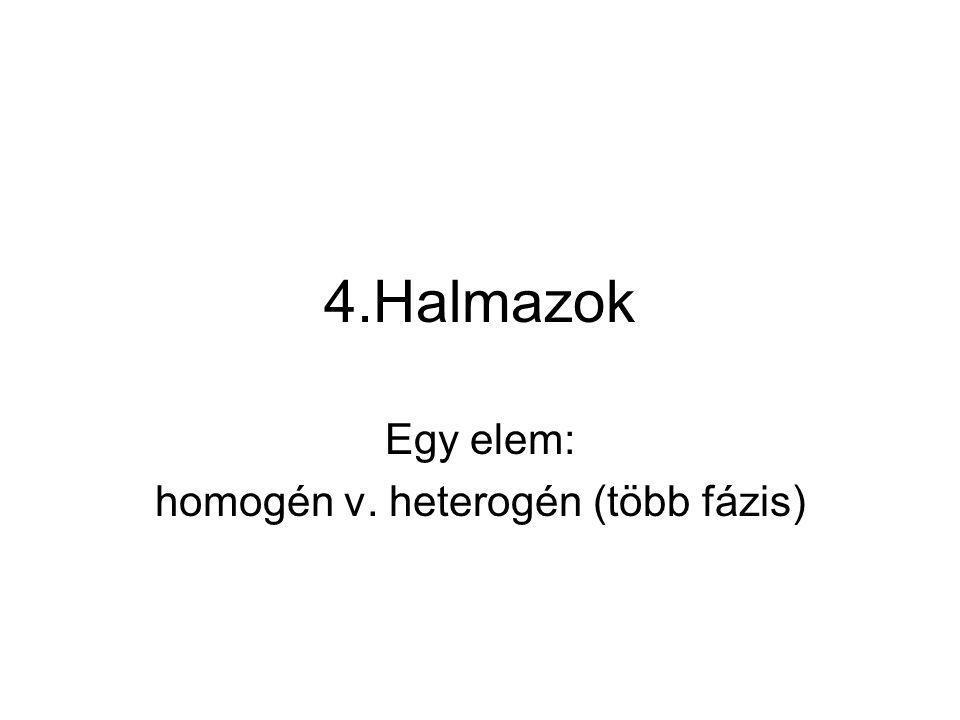 4.Halmazok Egy elem: homogén v. heterogén (több fázis)