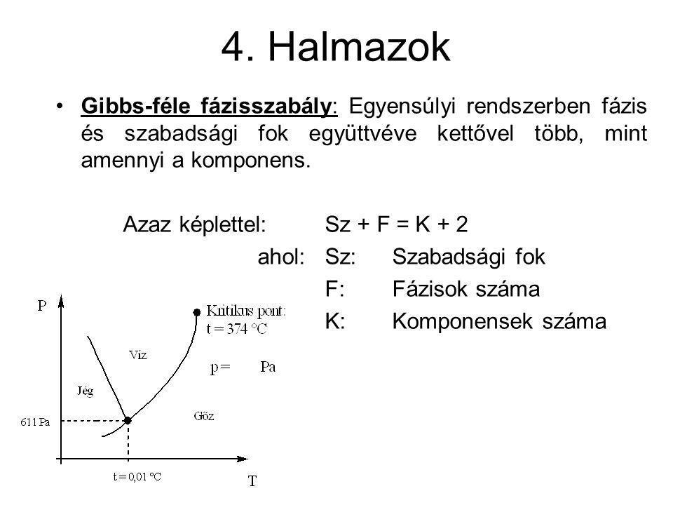 4. Halmazok Gibbs-féle fázisszabály: Egyensúlyi rendszerben fázis és szabadsági fok együttvéve kettővel több, mint amennyi a komponens. Azaz képlettel