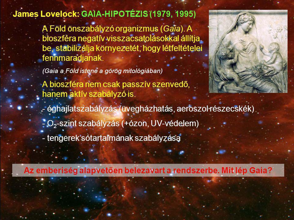 James Lovelock: GAIA-HIPOTÉZIS (1979, 1995) A Föld önszabályzó organizmus (Gaia). A bioszféra negatív visszacsatolásokkal állítja be, stabilizálja kör