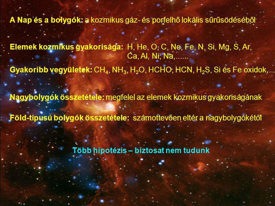 A Nap és a bolygók: a kozmikus gáz- és porfelhő lokális sűrűsödéséből Elemek kozmikus gyakorisága:H, He, O, C, Ne, Fe, N, Si, Mg, S, Ar, Ca, Al, Ni, N