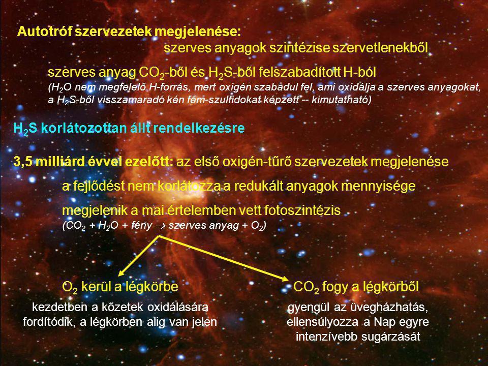 2 milliárd évvel ezelőtt: a felszíni kőzetek oxidációjának befejeztével az oxigén-szint intenzívebben kezd növekedni (0,1%) a légzés megjelenése (O 2 komoly energia-forrás  gyors fejlődés) tektonikus mozgások, szilikátos kőzetek karbonátosodása   további CO 2 csökkenés A biológiai tevékenységnek köszönhetően nő a légkör oxigén-tartalma
