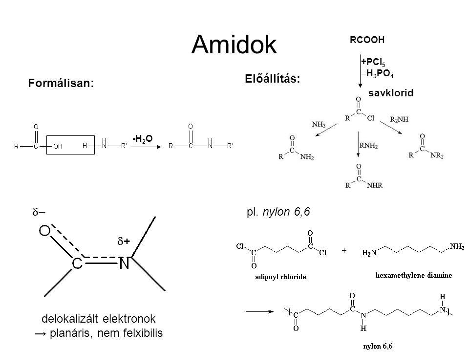 Amidok savklorid Formálisan: -H 2 O Előállítás: pl. nylon 6,6 delokalizált elektronok → planáris, nem felxibilis  ++ RCOOH +PCl 5  H 3 PO 4