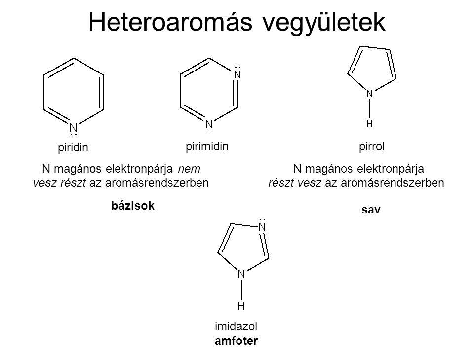 Heteroaromás vegyületek piridin pirimidin bázisok pirrol sav N magános elektronpárja nem vesz részt az aromásrendszerben N magános elektronpárja részt