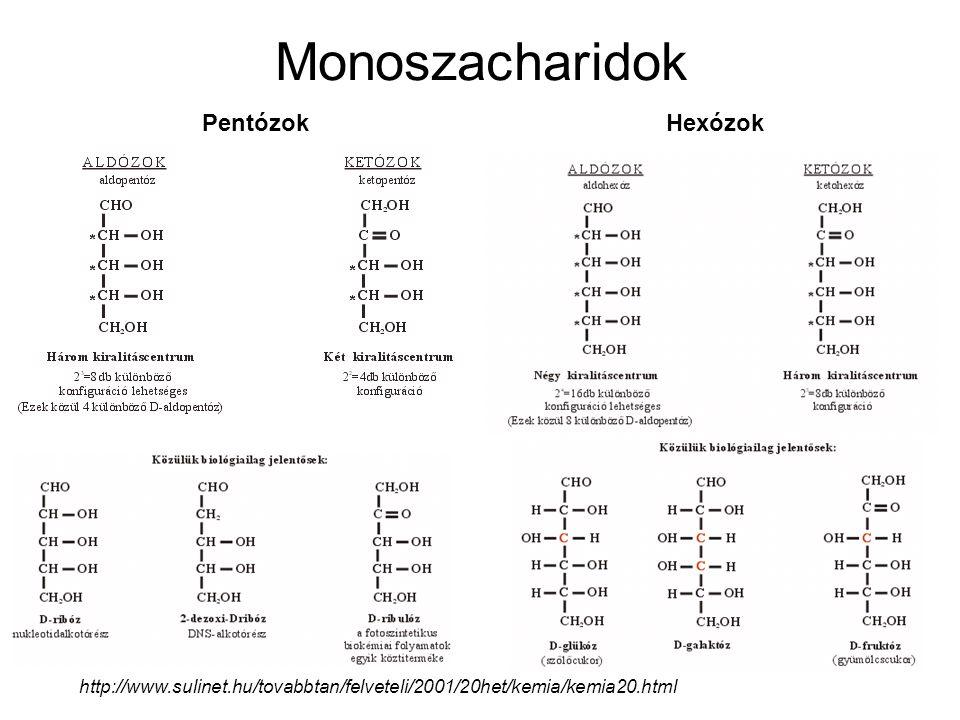 Monoszacharidok Pentózok http://www.sulinet.hu/tovabbtan/felveteli/2001/20het/kemia/kemia20.html Hexózok