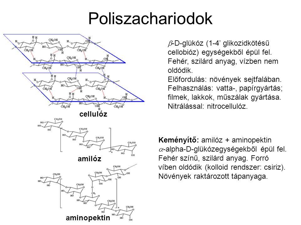 Poliszachariodok  -D-glükóz (1-4' glikozidkötésű cellobióz) egységekből épül fel. Fehér, szilárd anyag, vízben nem oldódik. Előfordulás: növények sej