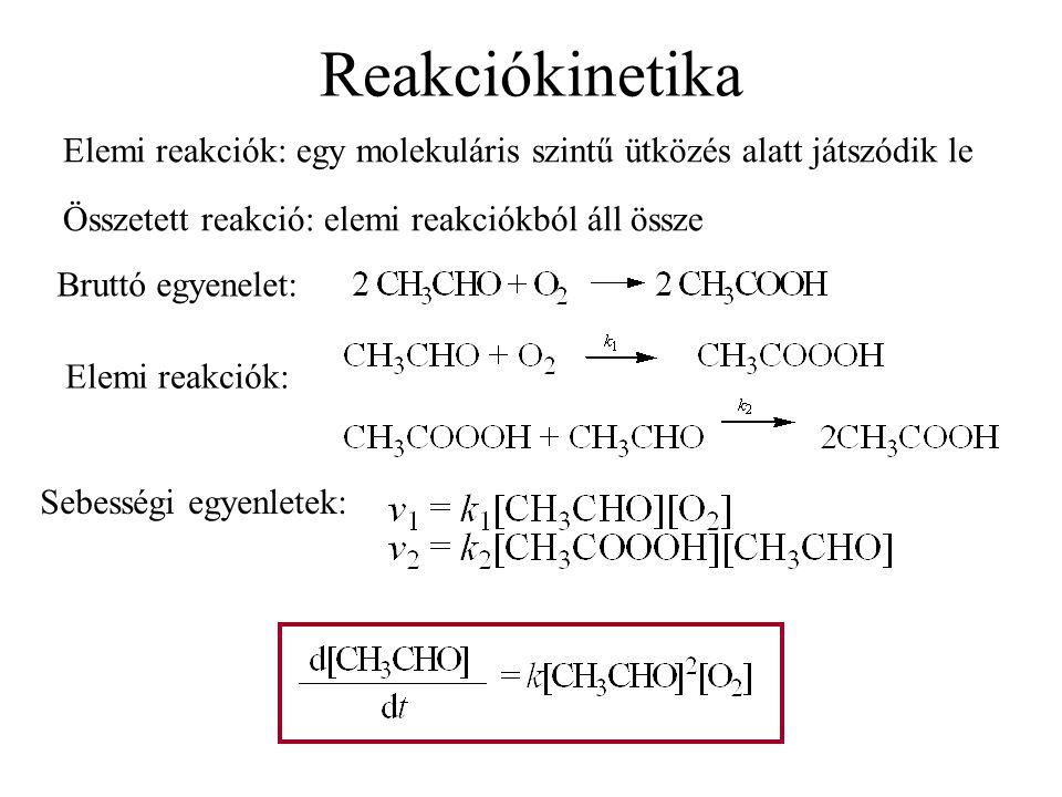Reakciókinetika unimolekuláris reakció Elemi reakciók molekularitása bimolekuláris reakció trimolekuláris reakció A + M = B + M v = k*[A] M – például az edény fala, indifferens molekula A + B = C (+ D …) v = k*[A]*[B] legelterjedtebb 2 részecske ütközése A + B + C = D (+ E …) v = k*[A]*[B]*[C] ritka, mert 3 részecske megfelelő ütközésének nagyon kicsi az esélye