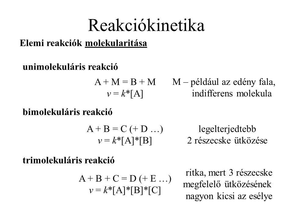 Reakciókinetika unimolekuláris reakció Elemi reakciók molekularitása bimolekuláris reakció trimolekuláris reakció A + M = B + M v = k*[A] M – például