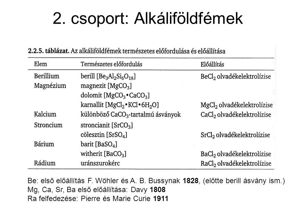 2. csoport: Alkáliföldfémek Be: első előállítás F. Wöhler és A. B. Bussynak 1828, (előtte berill ásvány ism.) Mg, Ca, Sr, Ba első előállítása: Davy 18