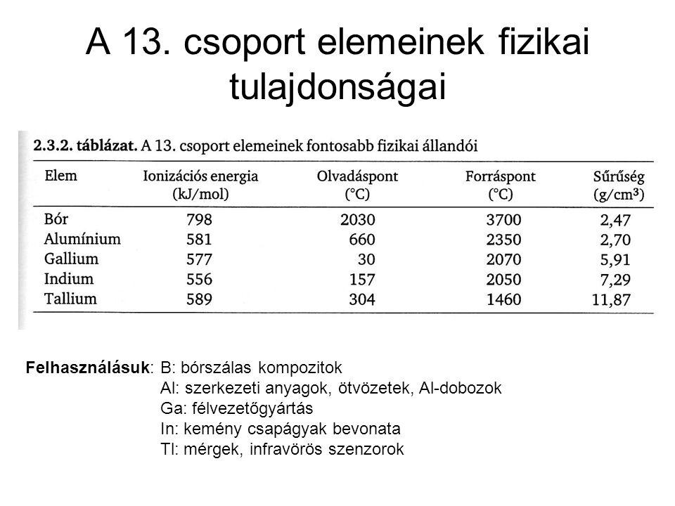 A 13. csoport elemeinek fizikai tulajdonságai Felhasználásuk: B: bórszálas kompozitok Al: szerkezeti anyagok, ötvözetek, Al-dobozok Ga: félvezetőgyárt