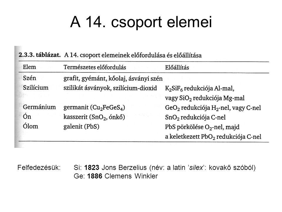 A 14. csoport elemei Felfedezésük: Si: 1823 Jons Berzelius (név: a latin 'silex': kovakő szóból) Ge: 1886 Clemens Winkler