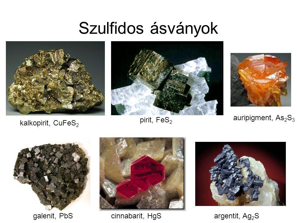 Szulfidos ásványok kalkopirit, CuFeS 2 pirit, FeS 2 galenit, PbS cinnabarit, HgSargentit, Ag 2 S auripigment, As 2 S 3