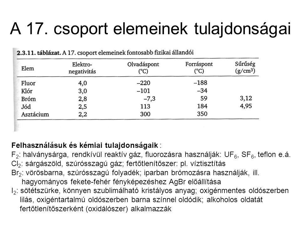 A 17. csoport elemeinek tulajdonságai Felhasználásuk és kémiai tulajdonságaik : F 2 : halványsárga, rendkívül reaktív gáz, fluorozásra használják: UF