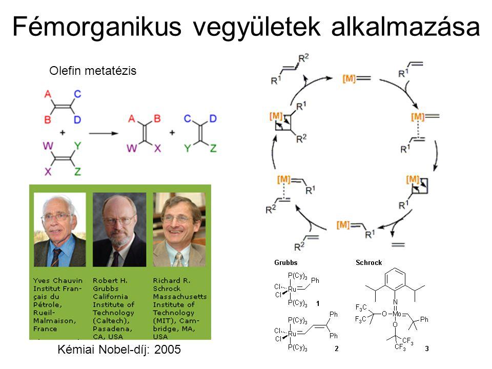 Fémorganikus vegyületek alkalmazása Olefin metatézis Kémiai Nobel-díj: 2005
