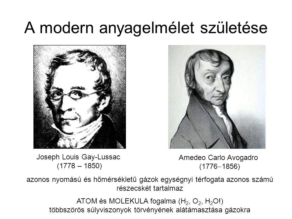 A modern anyagelmélet születése Joseph Louis Gay-Lussac (1778 – 1850) Amedeo Carlo Avogadro (1776  1856) azonos nyomású és hőmérsékletű gázok egységn