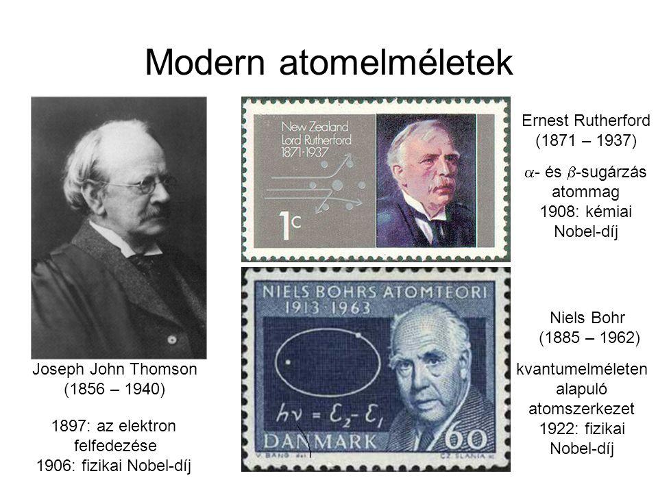 Modern atomelméletek Joseph John Thomson (1856 – 1940) Ernest Rutherford (1871 – 1937) 1897: az elektron felfedezése 1906: fizikai Nobel-díj  - és 