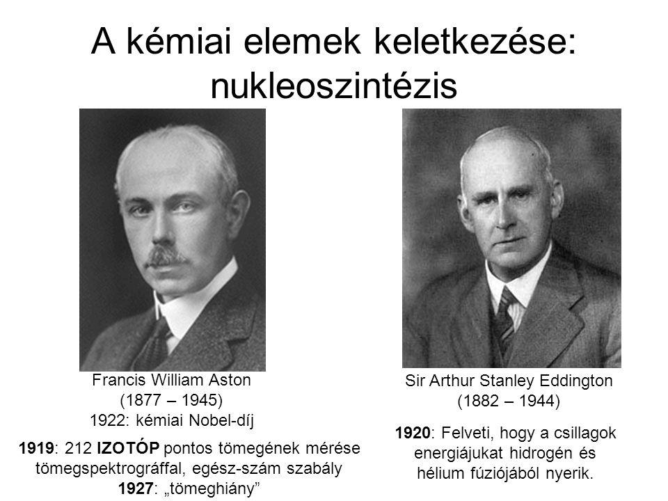 A kémiai elemek keletkezése: nukleoszintézis Sir Arthur Stanley Eddington (1882 – 1944) 1920: Felveti, hogy a csillagok energiájukat hidrogén és héliu
