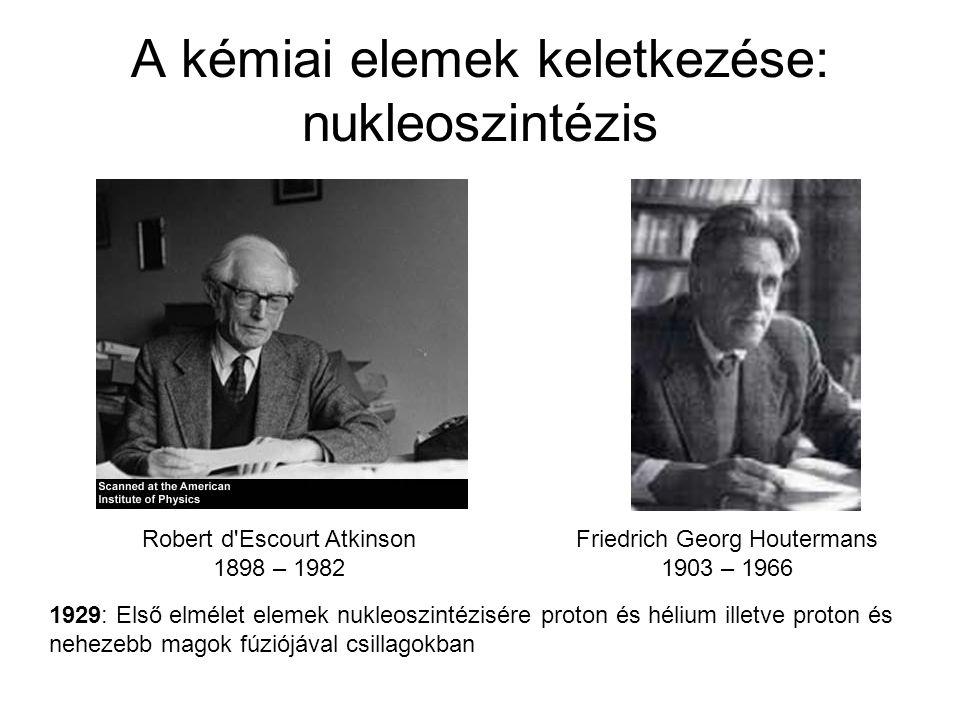A kémiai elemek keletkezése: nukleoszintézis Robert d'Escourt Atkinson 1898 – 1982 Friedrich Georg Houtermans 1903 – 1966 1929: Első elmélet elemek nu