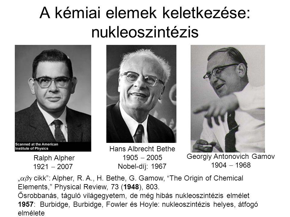 A kémiai elemek keletkezése: nukleoszintézis Hans Albrecht Bethe 1905  2005 Nobel-díj: 1967 Ralph Alpher 1921  2007 Georgiy Antonovich Gamov 1904 
