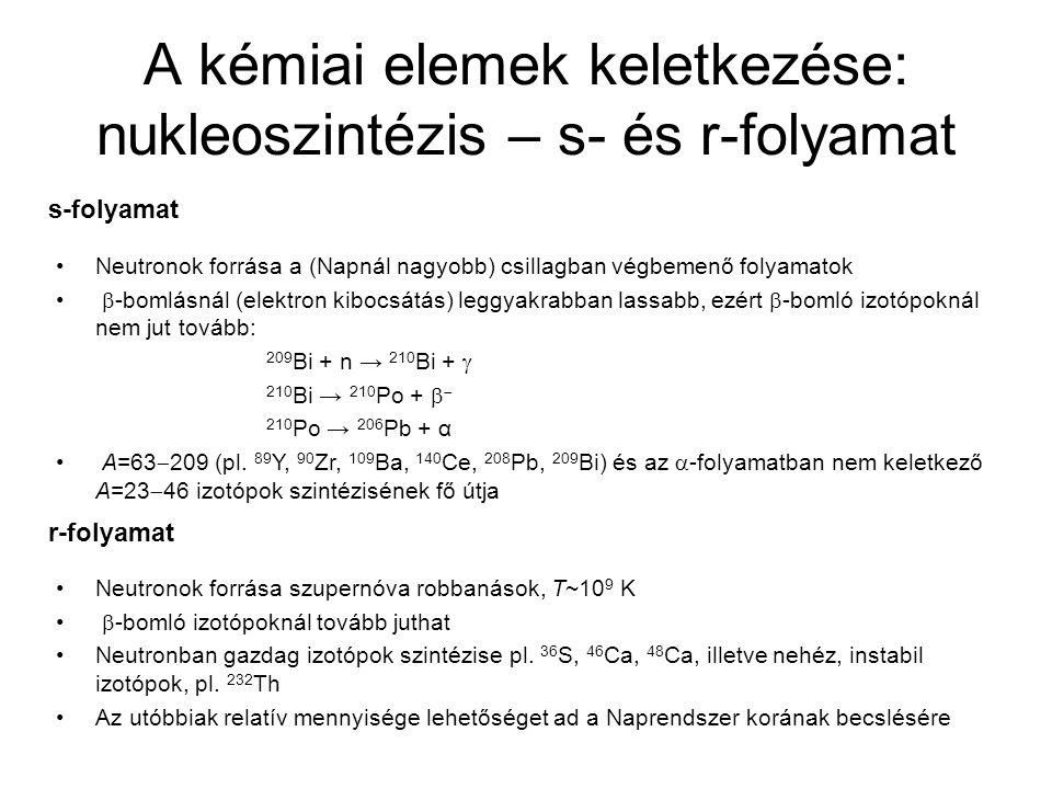 A kémiai elemek keletkezése: nukleoszintézis – s- és r-folyamat Neutronok forrása a (Napnál nagyobb) csillagban végbemenő folyamatok  -bomlásnál (ele
