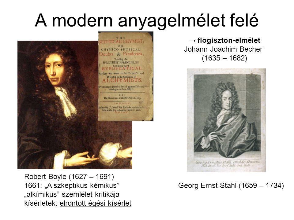 A modern anyagelmélet születése Antoin Laurent Lavoisier (1743 – 1794) Cavendish, Scheele, Priestley munkái alapján a flogisztonelmélet cáfolata: kémiai égés: oxigénnel való egyesülés ELEMEK és VEGYÜLETEK Anyag-, tömegmegmaradás törvénye Mihail Vasziljevics Lomonoszov (1711 – 1765) Boyle korábbi hibás égési kísérletének megismétlése → flogisztonelmélet cáfolata