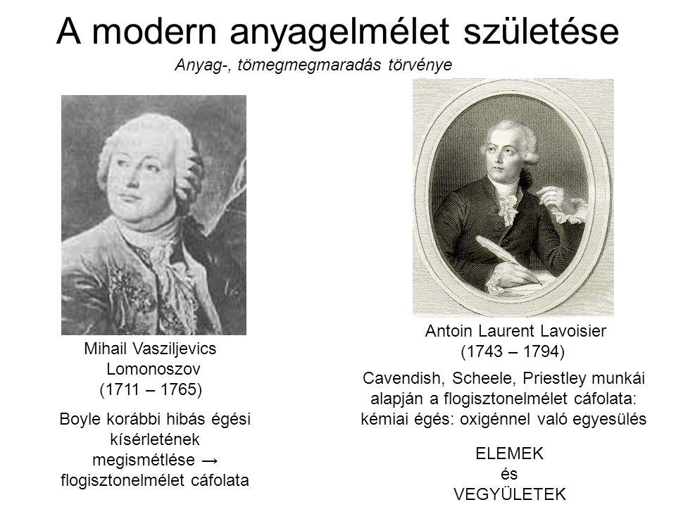 A modern anyagelmélet születése Antoin Laurent Lavoisier (1743 – 1794) Cavendish, Scheele, Priestley munkái alapján a flogisztonelmélet cáfolata: kémi