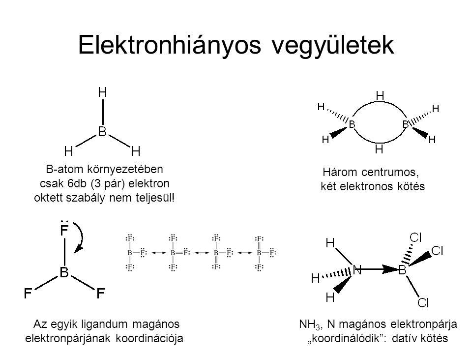 Elektronhiányos vegyületek B-atom környezetében csak 6db (3 pár) elektron oktett szabály nem teljesül.
