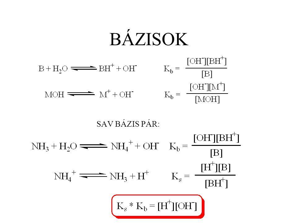 Hidrolízis A  + H 2 O HA + OH  BH + + H 2 O B + H 3 O + HA gyenge sav erős bázissal alkotott sójának lúgos hidrolízise: B gyenge bázis erős savval alkotott sójának savas hidrolízise: pl.