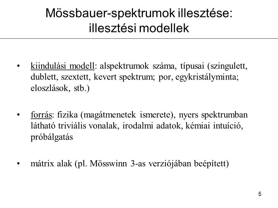6 Mössbauer-spektrumok illesztése: illesztés menete iteráció: legkisebb négyzetek módszere,  2 minimalizálása: M: csatornaszám N i : i-edik csatorna beütésszáma f: modell függvény v i : i-edik csatornához tartozó sebesség b: alapvonal p 1..p n : csúcsok paraméterei n: csúcsok száma