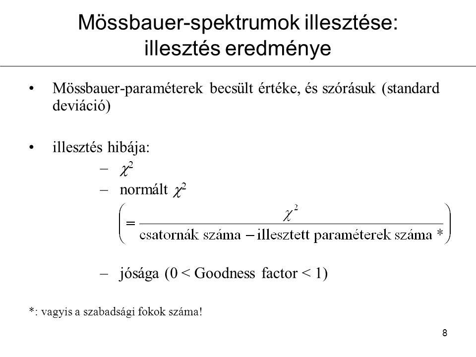 8 Mössbauer-spektrumok illesztése: illesztés eredménye Mössbauer-paraméterek becsült értéke, és szórásuk (standard deviáció) illesztés hibája: –  2 –normált  2 –jósága (0 < Goodness factor < 1) *: vagyis a szabadsági fokok száma!