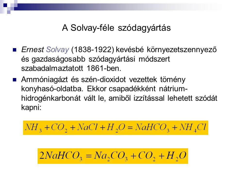 A Solvay-féle szódagyártás Ernest Solvay (1838-1922) kevésbé környezetszennyező és gazdaságosabb szódagyártási módszert szabadalmaztatott 1861-ben. Am