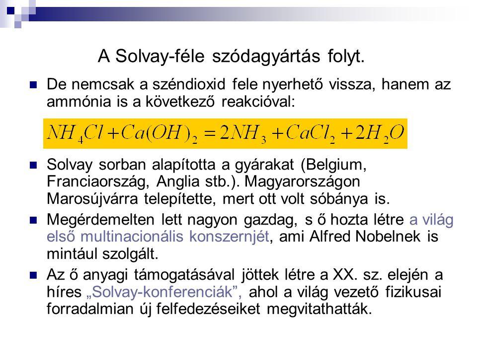 A Solvay-féle szódagyártás folyt. De nemcsak a széndioxid fele nyerhető vissza, hanem az ammónia is a következő reakcióval: Solvay sorban alapította a