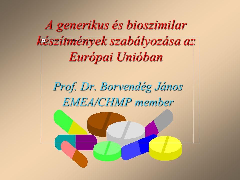 A generikus és bioszimilar készítmények szabályozása az Európai Unióban Prof. Dr. Borvendég János EMEA/CHMP member
