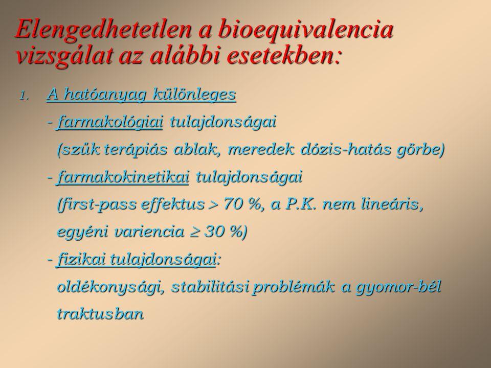 Elengedhetetlen a bioequivalencia vizsgálat az alábbi esetekben: 1. A hatóanyag különleges - farmakológiai tulajdonságai (szűk terápiás ablak, meredek