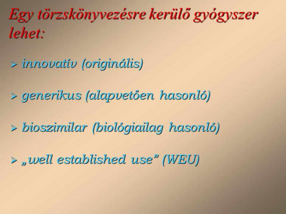 """Egy törzskönyvezésre kerülő gyógyszer lehet:  innovatív (originális)  generikus (alapvetően hasonló)  bioszimilar (biológiailag hasonló)  """"well es"""