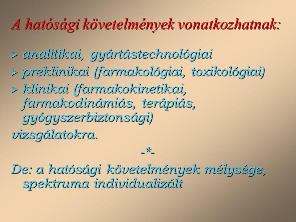 A hatósági követelmények vonatkozhatnak:  analitikai, gyártástechnológiai  preklinikai (farmakológiai, toxikológiai)  klinikai (farmakokinetikai, f