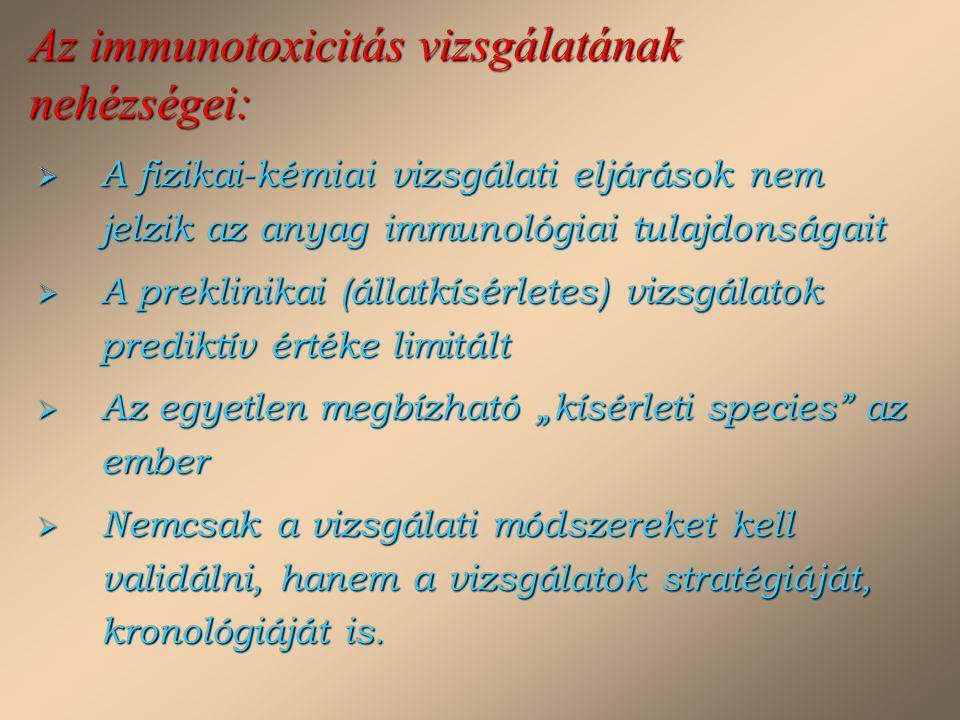 Az immunotoxicitás vizsgálatának nehézségei:  A fizikai-kémiai vizsgálati eljárások nem jelzik az anyag immunológiai tulajdonságait  A preklinikai (