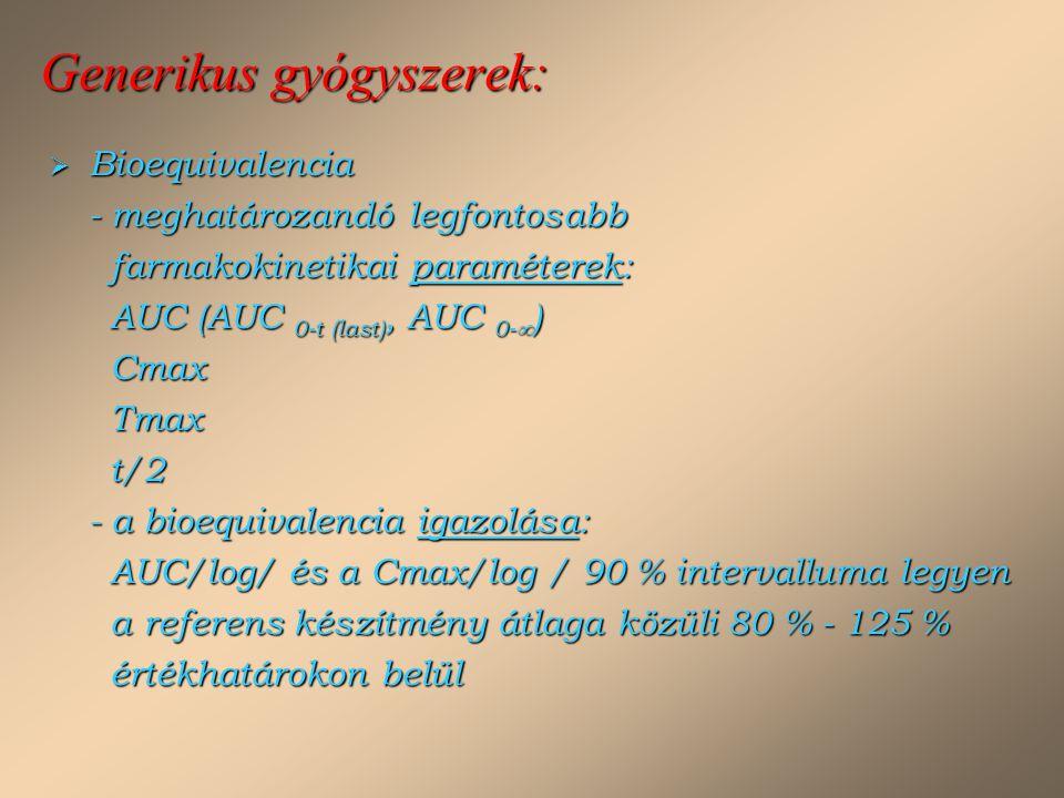 Generikus gyógyszerek:  Bioequivalencia - meghatározandó legfontosabb farmakokinetikai paraméterek: AUC (AUC 0-t (last), AUC 0-  ) Cmax Tmax t/2 - a