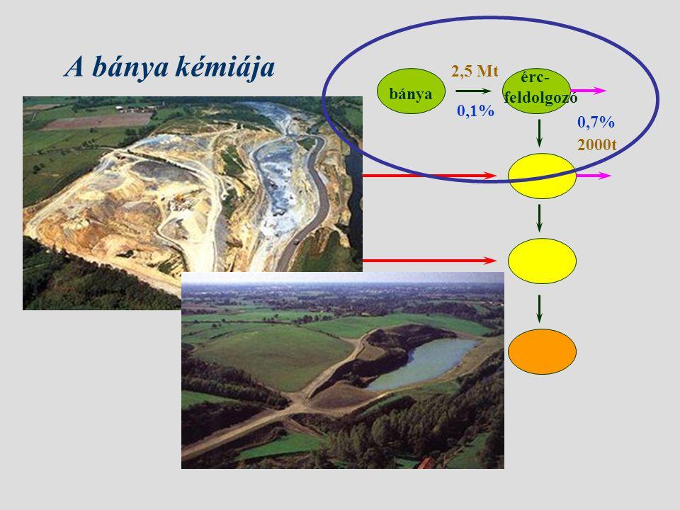 A bánya kémiája bánya érc- feldolgozó 0,1% 0,7% 2,5 Mt 2000t