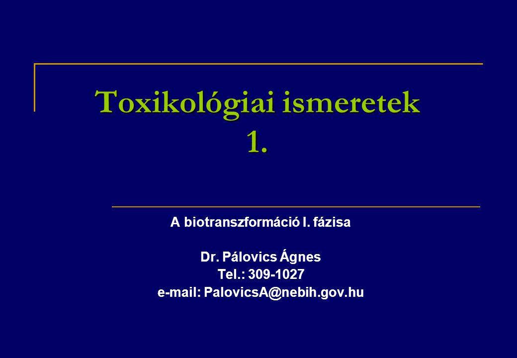 Toxikológiai ismeretek 1.A biotranszformáció I. fázisa Dr.