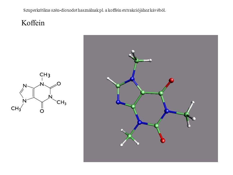 Koffein Szuperkritikus szén-dioxodot használnak pl. a koffein extrakciójához kávéból.
