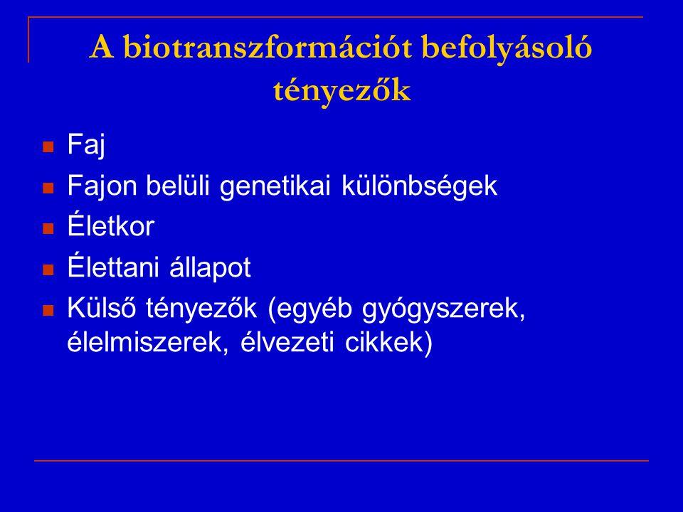 A biotranszformációt befolyásoló tényezők Faj Fajon belüli genetikai különbségek Életkor Élettani állapot Külső tényezők (egyéb gyógyszerek, élelmisze