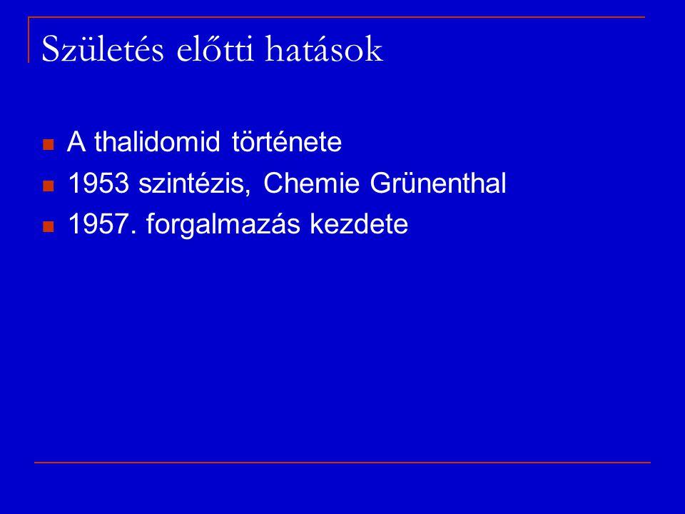 Születés előtti hatások A thalidomid története 1953 szintézis, Chemie Grünenthal 1957. forgalmazás kezdete