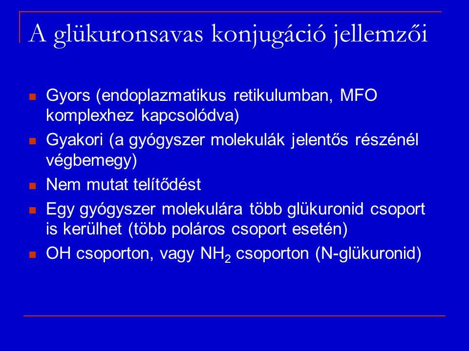 A glükuronsavas konjugáció jellemzői Gyors (endoplazmatikus retikulumban, MFO komplexhez kapcsolódva) Gyakori (a gyógyszer molekulák jelentős részénél