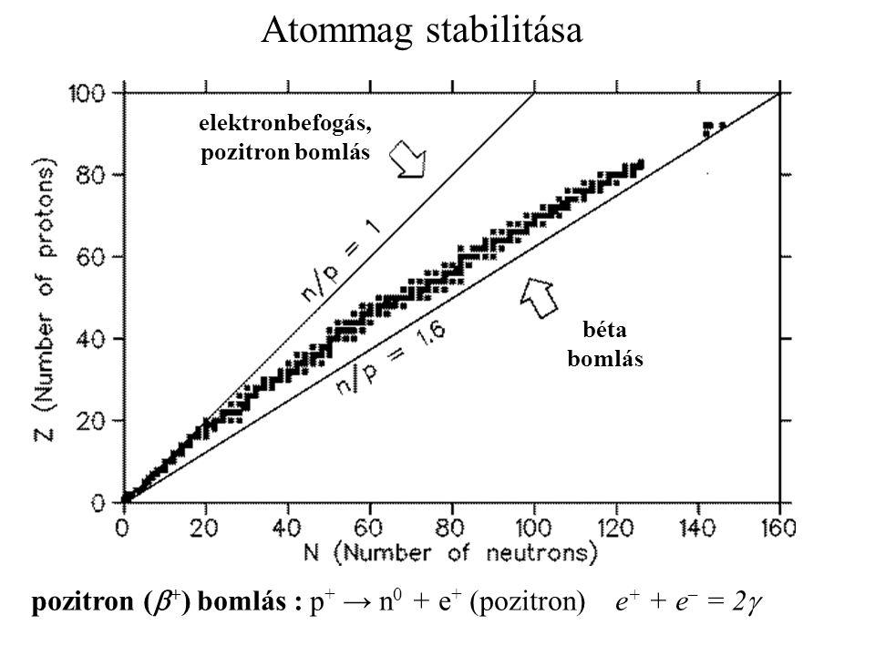 Atommag stabilitása elektronbefogás, pozitron bomlás béta bomlás pozitron (  + ) bomlás : p + → n 0 + e + (pozitron) e + + e – = 2 