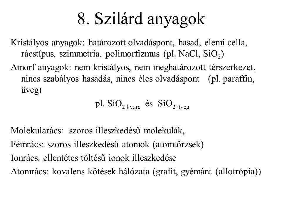 8. Szilárd anyagok Kristályos anyagok: határozott olvadáspont, hasad, elemi cella, rácstípus, szimmetria, polimorfizmus (pl. NaCl, SiO 2 ) Amorf anyag