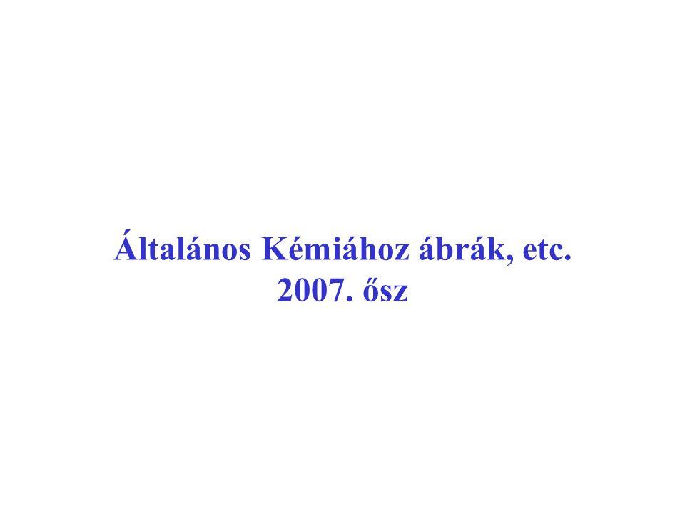 ÁLTALÁNOS KÉMIA I.éves Kémia BSc évf.