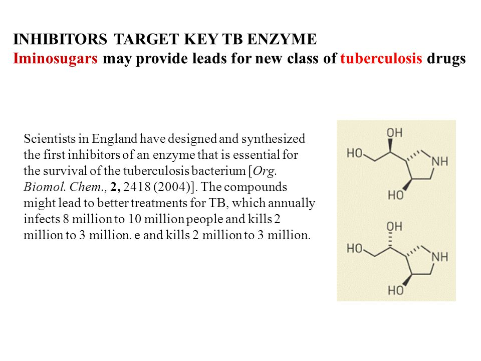 INHIBITORS TARGET KEY TB ENZYME Iminosugars may provide leads for new class of tuberculosis drugs Scientists in England have designed and synthesized