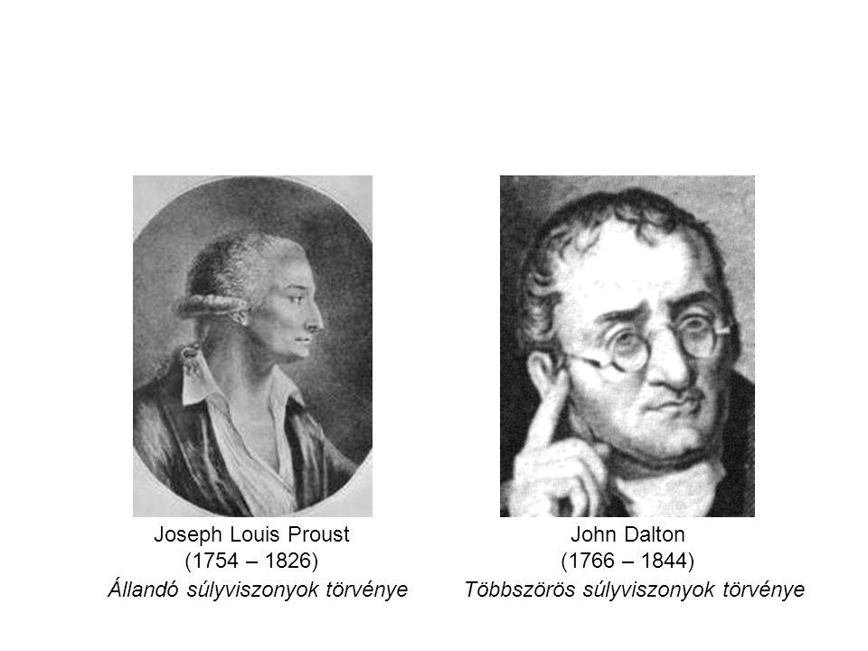 Állandó súlyviszonyok törvényeTöbbszörös súlyviszonyok törvénye Joseph Louis Proust (1754 – 1826) John Dalton (1766 – 1844)